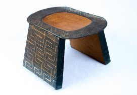 Asurini Geometric Bench (L), Tribal Art, Brazil